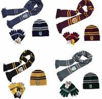 Wholesale harry potter scarves cotton resale online - 3 Harry Potter Scarf Scarves Hat Touch Gloves Gryffindor Slytherin Hufflepuff Ravenclaw Scarves Hat Touch Gloves Harry s Scarf
