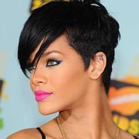 peluca mongol virgen parte al por mayor-Rihanna Style New Stylish 1B color Negro Corto Recto Pelucas americanas de África Peluca sintética para el cabello de Ladys Peluca completa Peluca sin tapa