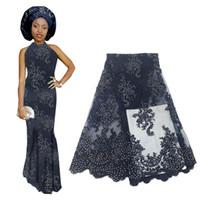 bordado de cristal para vestidos de novia al por mayor-Tela de encaje de cristales de cuentas rosadas de alta calidad 2019 tela de encaje africano para vestido de novia bordado francés tul encaje de gasa BF0008
