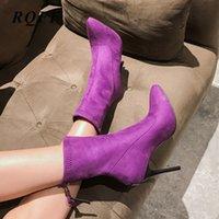 botas de invierno púrpura para mujer al por mayor-de otoño invierno de las nuevas mujeres de las botas del tobillo más el tamaño 45 46 zapatos de las mujeres delgadas de los altos talones de las señoras hechas a mano para la mujer Negro Púrpura