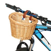 Wholesale wicker storage boxes resale online - Vintage Wicker Bike Bicycle Front Handlebar Basket Shopping Box Cargo Leather Straps Outdoor Sports Picnic Storage Accessory