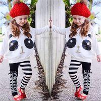 Wholesale toddler halloween shirts resale online - Toddler Kids Girls Clothes Set Panda Sequins Tops T shirt Striped Bow Pants Clothes Setroupas infantis T T tracksuit for girls