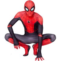 kahramanlar üniformaları toptan satış-Yetişkin için SPOR Cadılar Bayramı Süper Kahraman Örümcek Adam Kostüm İnce Üniformalar Cosplay Tayt Parti Giyim