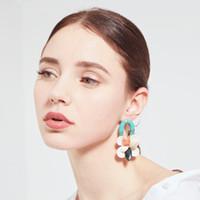 smaragdgrünstock großhandel-Design Smaragd Grün Ohrringe Elegante Mode Weibliche Ohrringe Shell Korallen Multilayer Ohrstecker Retro Böhmischen Damen Schmuck