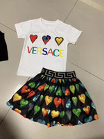 Wholesale chinese girls t shirts resale online - set girl clothe two pieces for little girl dress white t shirt dress girl christmas dress high quality brand cheap baby child set