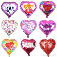 kalp şeklinde helyum balonu toptan satış-18 inç şişme havalı balonlar kalp şekli helyum balon düğün dekorasyon folyo balonlar aşk balonlar toptan