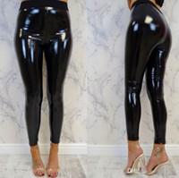nasse blick frauen lederhose großhandel-Frauen Leggings Wet Look PU-Leder-Gamaschen schwarze dünne lange Hosen-Frauen-reizvolle dünne Gamaschen