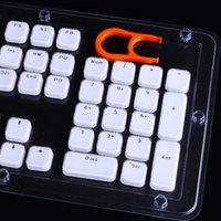 tamanho da tampa da chave venda por atacado-KeyCaps Perfil baixos para MX teclado mecânico White Cap Key ponta de cristal com Extrator de plástico rígido 104 Chaves Full Size US layout