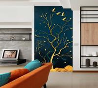 tapetenbaum vögel großhandel-[Selbstklebend] 3D Golden Tree And Birds 178500 Fototapete Wall Print Decal Murals