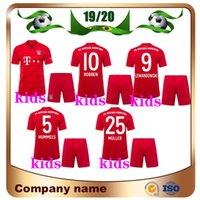 ingrosso jersey di calcio dei capretti-19/20 Bayern Munich Kit da bambino maglia da calcio 2019 Home Red 25 MULLER 11 JAMES Soccer Shirts LEWANDOWSKI ROBBEN Child Football uniforme