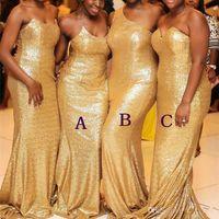 vestido de dama de honra lantejoula querida venda por atacado-Meninas negras de ouro de lantejoulas sereia longo damas de honra vestidos de um ombro lantejoulas Nergeria maid of honor vestidos plus size bm0688