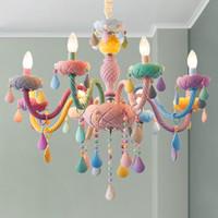 araña niños al por mayor-Moderno LED luces de araña Kid Room Colorful Crystal Metal Fixture de luz dormitorio niños lámpara de techo interior decoración del hogar