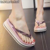 su geçirmez sandalet kadın toptan satış-Çevirme Moda Klip Toes Bayan Kama Sandalet Yaz Sandalet Rahat Plaj Terlik Su Geçirmez Platformu Takozlar ayakkabı kadın c5