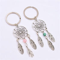 Wholesale key valentine gift online - Bohemian Dream Catcher Key Ring Metal Bead Feather Keys Buckle Silver Pink Green Restoring Ancient Ways Valentines Day Gifts yhD1