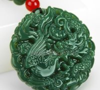Wholesale natural green jade pendant resale online - Beautiful Natural Green HeTian Jade Carved Chinese Dragon Phoenix Amulet Lucky Pendant Free Necklace Certificate Fine Jewelry