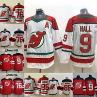 şeytan hokeyi formaları toptan satış-2019-20 Yeni 9 Taylor Hall Jersey New Jersey Devils 76 P.K. Subban 13 Nico Hischier 86 Jack Hughes Womens Gençlik Hokeyi Formalar Kırmızı Beyaz
