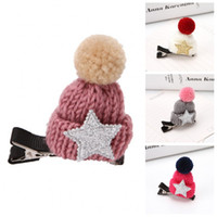 Wholesale hat hairpin hair for sale - Group buy Christmas Hairpin Fashion Wool Cap Knit Hat Hair Clip Children Girls Cute Headwears Multi Color Fashion Style gl H1
