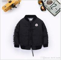çocuklar için rüzgar koruyucu toptan satış-2019 Yeni Boys Aşağı Parkas Ceketler Kış Ceket Erkek Moda Çocuk Kalın Mont Çocuk Rüzgarlık Ceketler Dış Giyim 90-130 cm Perakende