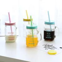 dondurma cam kupası toptan satış-450 ml Cam Mason Kavanoz Kupa Kapaklı ve Saman Yaz Dondurma Meyve Soğuk Içme Suyu Kavanoz Suyu Bardak Su Şişesi