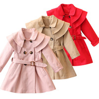 Wholesale yellow hoodie 3t online – oversize New Girls Jacket Trench Coat Dress Girl Child Kids Hoodie Girl Wearing Winter Coats Cut In Wind Dust Cap