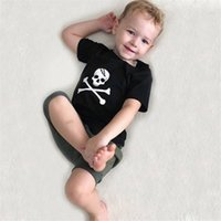tecido do crânio do bebê venda por atacado-Crianças Halloween Horror crânio do osso Costume Printed irmão mais velho Meninos Camiseta Tops Tecido de algodão cosplay bebê Crianças Halloween