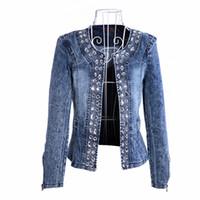 artı boyutu kadın denim ceket toptan satış-2019 Yeni Varış Bahar Sonbahar Denim Ceket Kadın Bağbozumu Elmas Rahat Mont Kot Ceketler Kadın Rüzgarlık Artı Boyutu Büyük