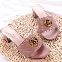 Wholesale fashionable heeled sandals resale online - Luxury Designer shoes women s sandals leather Metal decoration women s slippers casual Fashionable wild ladies high heeled sandals G63