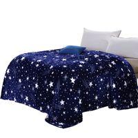 ingrosso stelle twin-Svetanya Stars Galxy Coperta blu flanella Fleece Plaid divano Getta invernale lenzuolo twin queen king Plaid
