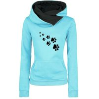 Wholesale thick dog collars resale online - 2019 New Fashion Cat Dog Paw Print Sweatshirts Hoodies Women Tops Pockets Cotton Female Cropped Street Thick Winter Or Sping