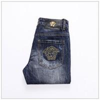 jeans de estilo americano para hombres al por mayor-Pantalones vaqueros para hombres Pantalones vaqueros para hombres Hallen, vaqueros huecos de estilo europeo y americano NO.13S