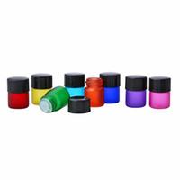 rolha de garrafa de óleo essencial venda por atacado-1 ml Difusor de Óleo Essencial Garrafa de Perfume de Óleo Essencial de Vidro Fosco Rainbow Garrafas de Parede Grossa com 3 Tipos de Rolha