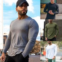 Wholesale mens gym long sleeve shirt resale online - New Fashion Mens Gym Slim Fit Long Sleeve O Neck Fitness Muscle Tee Sport T Shirt BodyBuilding Tops