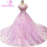vestido roxo colorido venda por atacado-Elegante Lace Ball Vestidos De Casamento Vestidos 2019 Vestido De Noiva Puffy Frisado Ver Através 3d Flores Colorido Roxo Vestidos de Noiva