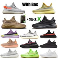 Wholesale sneakers shoelace for sale - Group buy Hot Kanye West M Black Static Reflective Running Shoes Cinder Israfil Desert Sage Earth Tail Light Zebra Mens Womens Designer Sneakers