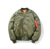 armee grüne jacke schwarze ärmel großhandel-Gedruckte Army Green Black Zip Up Tape Band Ärmel Männer Bomberjacke Streetwear Coat