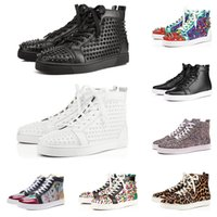 Wholesale white spiked shoes for men resale online - Designer fashion luxury Red Bottom Studded Spikes Flats shoes For Men Women glitter Party Lovers Genuine Leather casual Sneakers