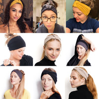 diademas deportivas para damas al por mayor-Las mujeres con nudos Cruz estiramiento venda ancha Deportes Yoga Turbante Hairband 24 * 14cm cabeza del turbante Banda Damas de pelo Accesorios C6384