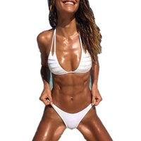 bikini push up triángulo blanco al por mayor-Sexy sólido blanco con volantes bikini Mujer Push-up Sujetador con relleno Vendaje Bikini Set Traje de baño Triángulo Traje de baño Traje de baño mujeres