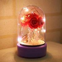 melhor levou rosa venda por atacado-Beleza LED Rose e Besta Alimentado por Bateria LED Música Night Light Melhor Decoração Urso Guitarra Artesanato Figurinhas Miniaturas