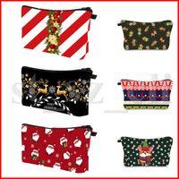 çantaları kapat toptan satış-Kozmetik Çanta Makyaj Kılıfı Noel Desen Tuvalet Seyahat Organizatör Casual Çanta Renkleri Asma Çanta Debriyaj Makyaj