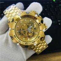 ouro de reserva venda por atacado-N0.27791 dos homens INVICTA relógio de quartzo de aço inoxidável CHAMA-FUSION Venom Reserve Chronograph Full Dial Ouro 18k GoldLon-Banhado