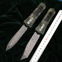 Wholesale Micro tech Damascus aluminum alloy portable tactical action knife outdoor camping knives switch hunting of self defense tools