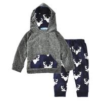 conjunto de piezas de niño suéter al por mayor-Everweekend Cute Baby Boys Clothing Set Niños Deer Impreso con capucha Suéter con pantalones Traje de 2 piezas Moda Ropa para niños