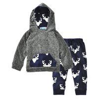 junge stücke satz pullover großhandel-Everweekend Cute Baby Boys Kleidung Set Kinder Hirsch gedruckt Kapuzenpullover mit Hosen 2-teiliges Outfit Mode Kinder Kleidung