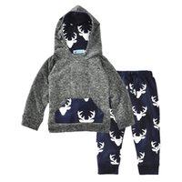 erkek çocuk seti kazak toptan satış-Everweekend Sevimli Bebek Erkek Giyim Seti Çocuk Geyik Baskılı Kapşonlu Kazak Pantolon 2-Piece Kıyafet ile Moda Çocuk Giysileri