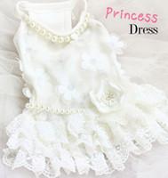 Wholesale ivory designer wedding dresses resale online - dog clothes wonderland D apricot flower luxurious lace white dog dress wedding ropa perro mascotas roupa cachorro