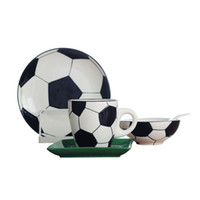 Creative Football Sports Gift Ceramic Breakfast Dinnerware Set Relief Soccer Theme Dinner Plates Dishes Cereal Bowl Coffee Mug