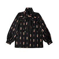 pajarita negra camisa mujer al por mayor-2019 Primavera Nuevas Mujeres Tops G Negro Bordado Pesado Rayas Tie Bow Design Blusa Sense gasa Camisa Casual Mujer Ropa Tamaño S-XL
