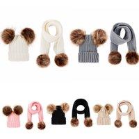 häkeln baby-sets groihandel-Baby-Strickmütze Schal Set Warm Abnehmbare Doppel-Pelz-Pom Crochet Schädel-Kappe Hut-MMA2615