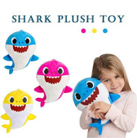 Wholesale stuffed animals online - 3 Colors cm Baby Shark Plush Toys with Music Cartoon Stuffed Lovely Animal Soft Dolls Music Shark Toy Party Favor CCA11076